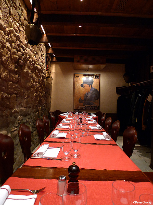 table layout at the basement of the restaurant at Hotel Les Armures Geneva
