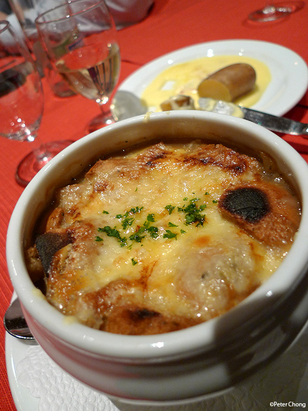 French Onion Soup with cheese gratine Hotel Les Armures Geneva