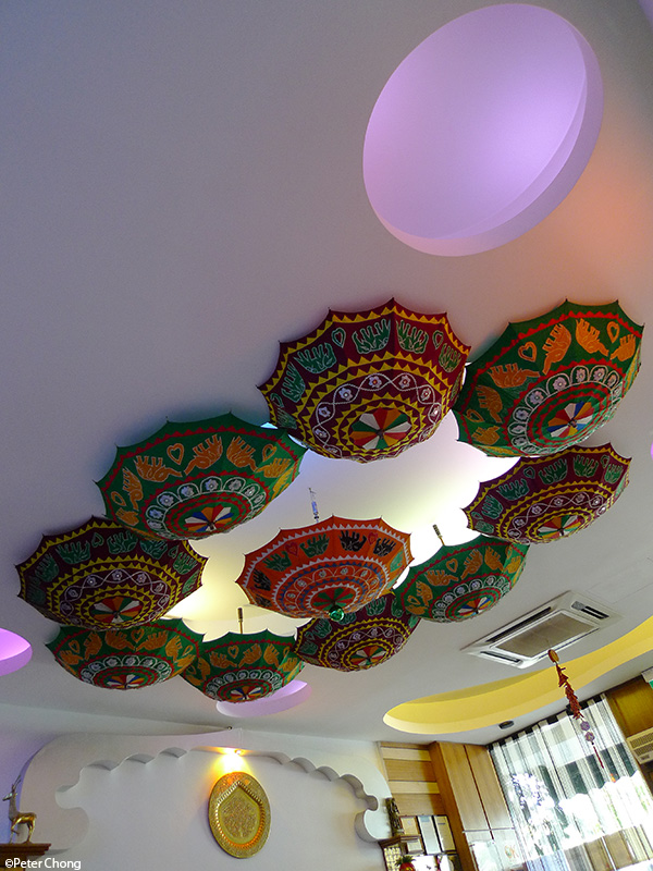 Interior shot showing parasol chandelier at Delhi Restaurant