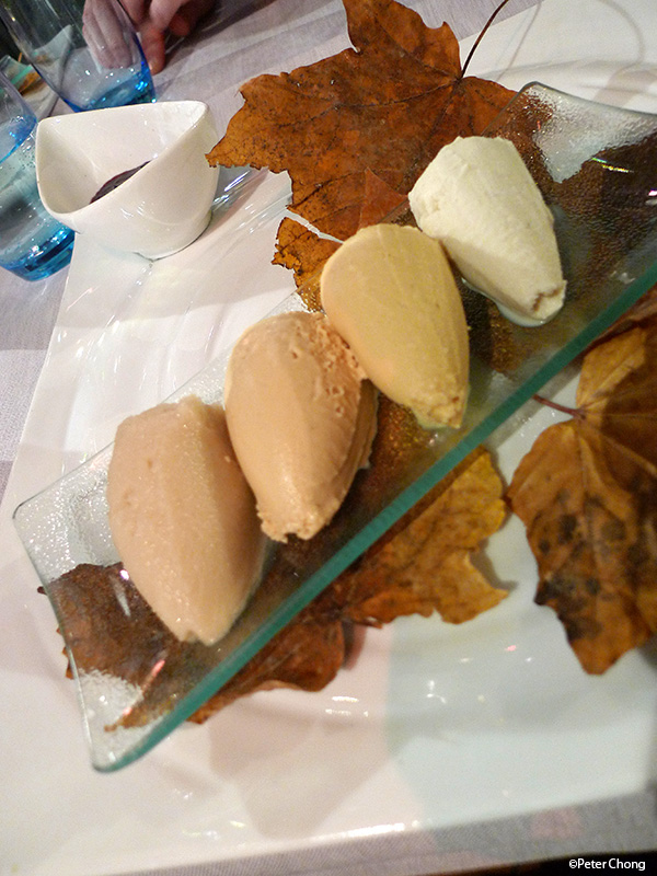 dessert sorbet of 4 mushrooms at la maison du prussien nauchatel