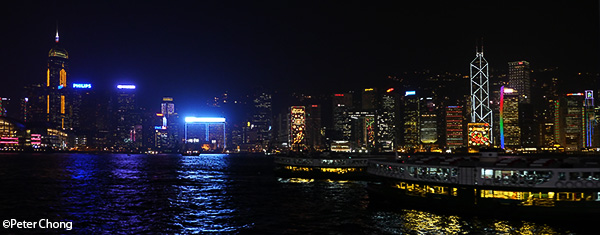 Hong Kong skyline as photographed from the Star Ferry terminal at Tsim Tsa Tsui