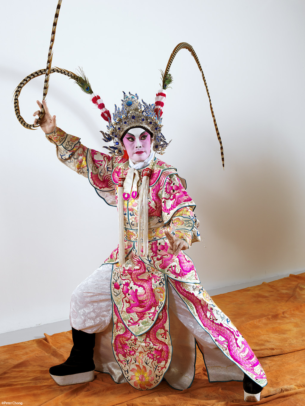full body shot of male opera performer in pose