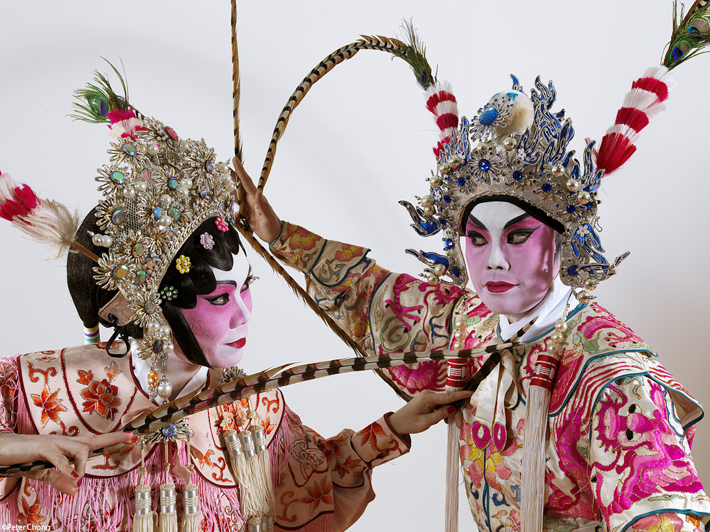 two chinese opera performers in pose