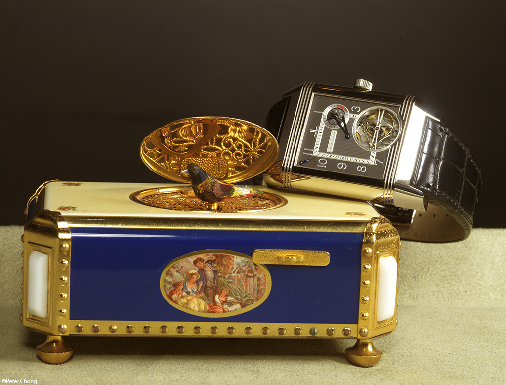 The Jaeger LeCoultre Triptyque Grand Complication on music box with singing, fluttering bird