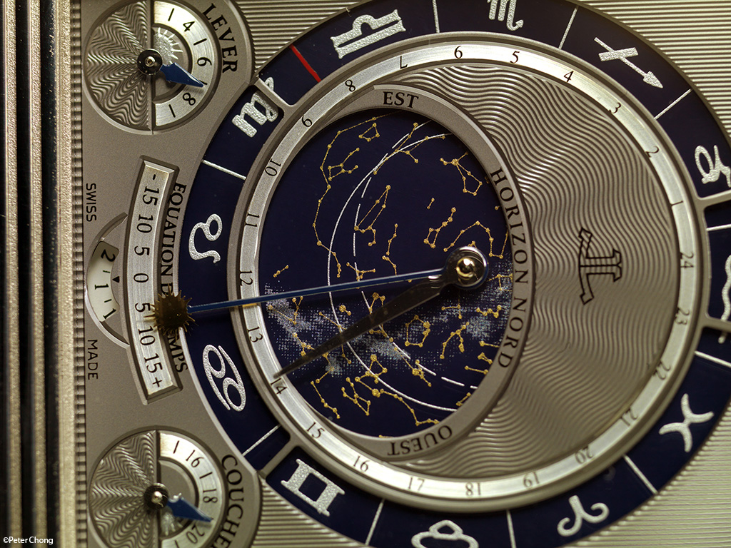 The Jaeger LeCoultre Triptyque Grand Complication, showing the inner dial with celestial and zodiac indicators and sunrise/sunset at lattitude