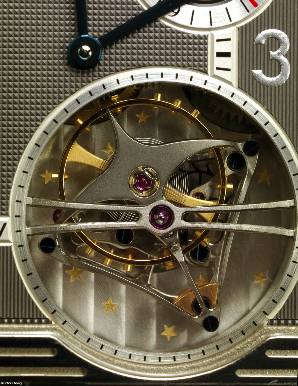 The Jaeger LeCoultre Triptyque Grand Complication, showing detail of the tourbillon