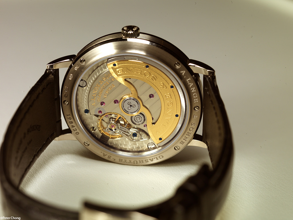 Lange Saxonia Automatic showing the rear of the watch and the magnificent movement