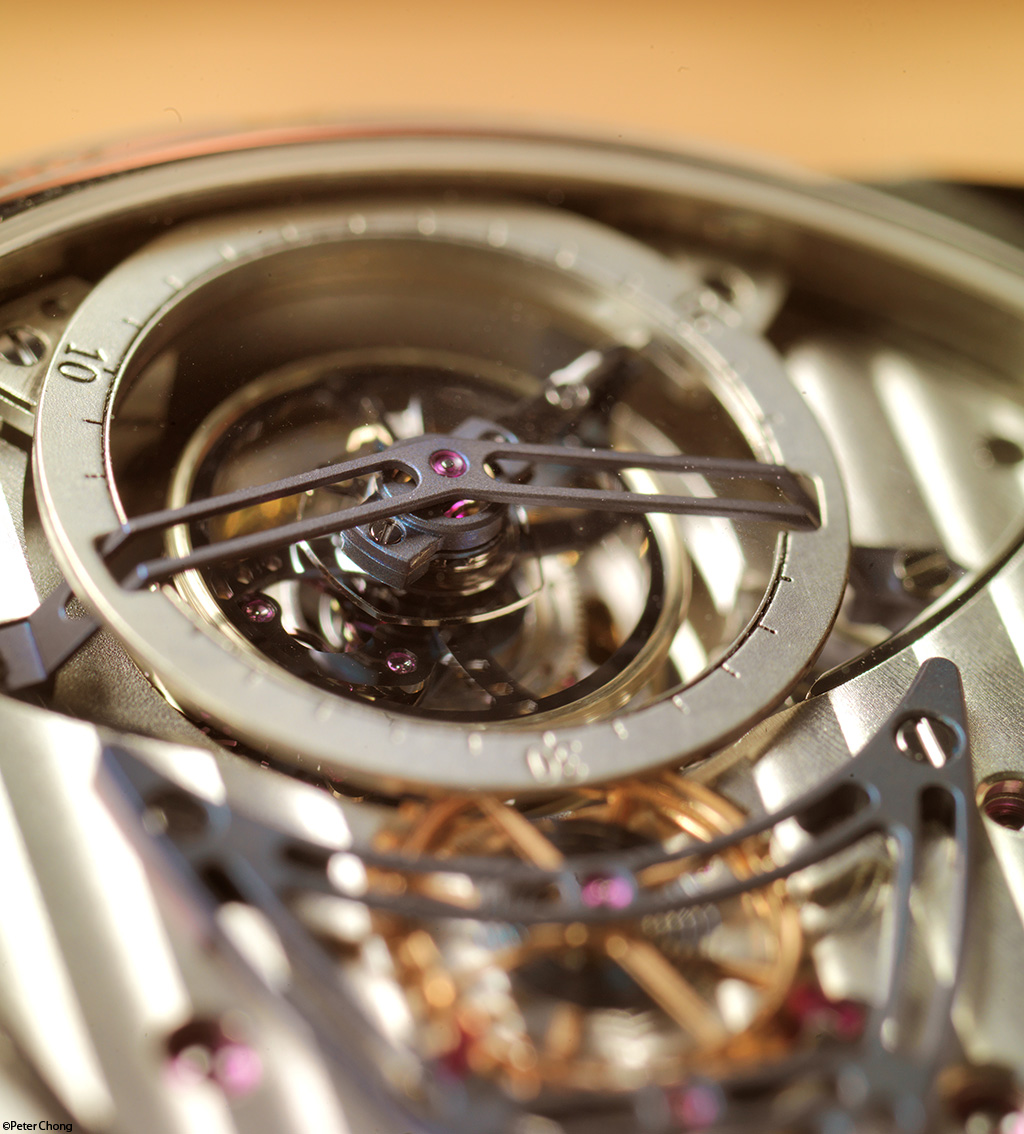 Debethune DB25 tourbillon with jumping seconds. Tourbillon detail