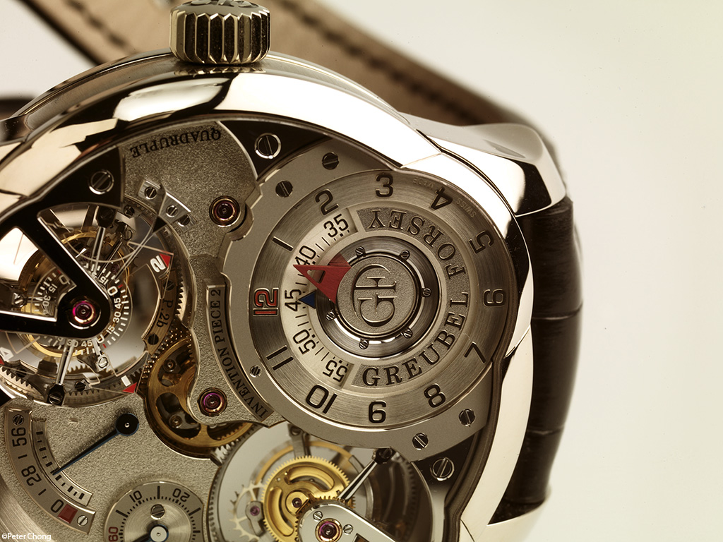 Greubel Forsey Invention Piece no. 2 dial detail showing twin double tourbillons making this a quadruple tourbillon
