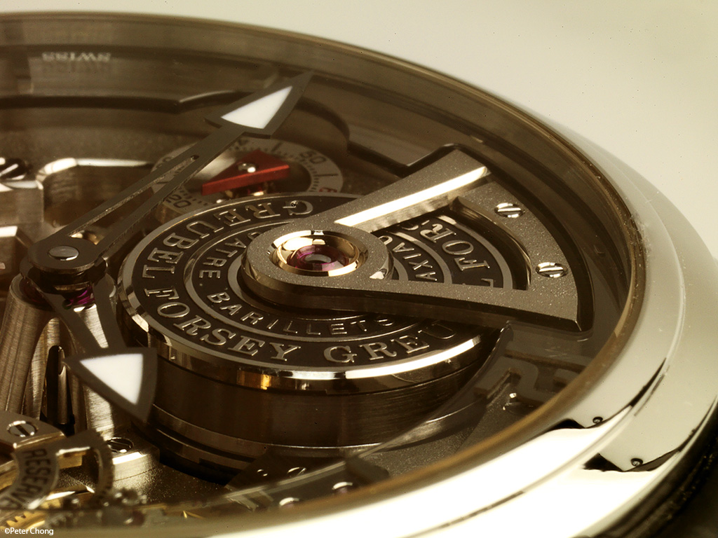 Greubel Forsey Double Tourbillon 30 degree Technique detail showing main spring barrels