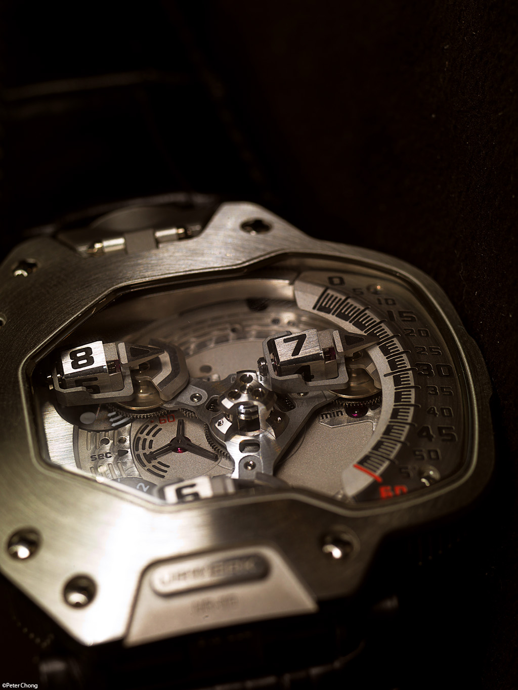 Urwerk UR110 dial side, showing the satelites as seen on an oblique